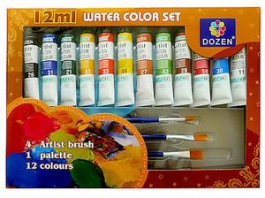 Farby akwarelowe Dozen 12ml 12kol. paletka +pędzl - 2865441181