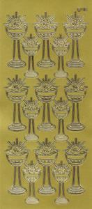 Sticker złoty 20940 - kielich z Hostią duży x1