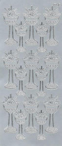 Sticker srebrny 20940 - kielich z Hostią duży x1