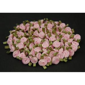 Różyczki atłasowe mini różowe/zielone x10