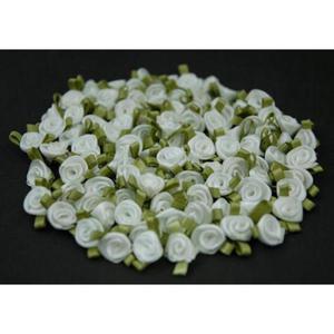 Różyczki atłasowe mini błękitne/zielone x10