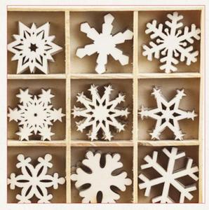 Elementy drewniane 45szt. śnieżynki 2 - 2837847390