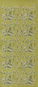 Sticker złoty 12100 - świeczki i gwiazdki x1 - 2843439514