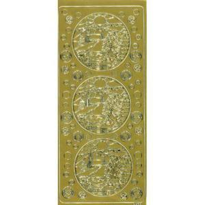 Sticker złoty 01732 - pejzaż zimowy x1 - 2843439559