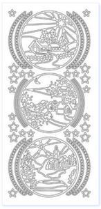 Sticker złoty 01115 - pejzaż zimowy x1 - 2843439565
