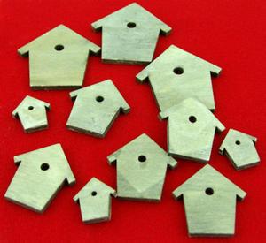 Ozdoby drewniane samoprzylepne szare - domek - 2863967411
