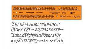 Szablon literowo-cyfrowy 7mm kursywa x1