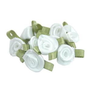 Ró�yczki at�asowe mini bia�e/zielone x10