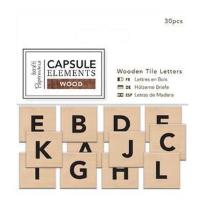 Tabliczki z literami elements wood 30 szt x1 - 2863967419