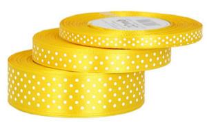 Wstążka 12mm w kropki !020 żółta 25Y x1 - 2864470118