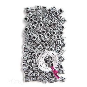 Koraliki 124szt. literki srebrne - 2880283756