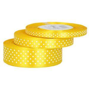 Wstążka 25mm w kropki !020 żółta 25Y x1 - 2881103703