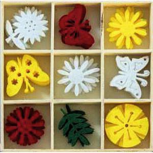 Ozdoby z filcu w pudełku - Kwiaty i Motyle x36 - 2867148713