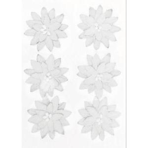 Kwiaty samoprzylepne papierowe Dalia białe x6 - 2867148738
