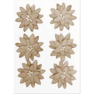 Kwiaty samoprzylepne papierowe Dalia beżowe x6 - 2867148739