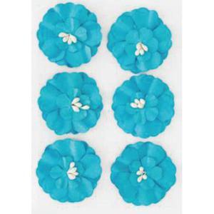Kwiaty samoprzylepne papierowe Cynie niebieskie x6 - 2867148742