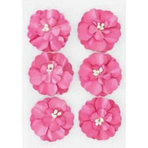 Kwiaty samoprzylepne papierowe Cynie różowe x6 - 2867148743