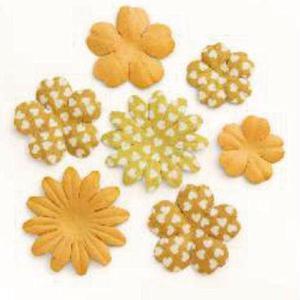 Kwiaty papierowe Płatki mix pomarańczowy x24 - 2867148747