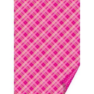 Karton B2 300g Heyda kratka/kropki - różowy x1 - 2873178473