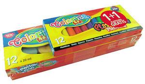 Farby plakatowe Patio - 12 kolorów + plastelina x1