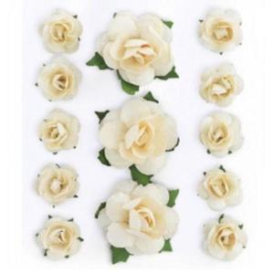 Róże papierowe kremowe x13 - 2880942317