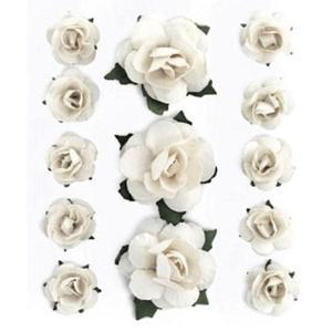 Róże papierowe białe x13 - 2880942318