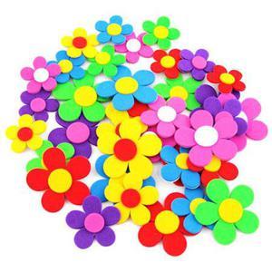 Naklejki z pianki 3D - kolorowe kwiatki x36 - 2881600549