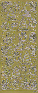 Sticker złoty 02274 - motywy świąteczne x1 - 2843439526