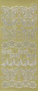 Sticker złoty 00055 - motyle i biedronki x1