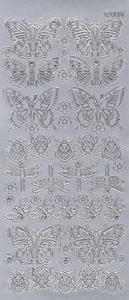 Sticker srebrny 00055 - motyle i biedronki x1