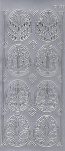 Sticker srebrny 01832 - pisanki ażurowe x1