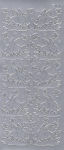 Sticker srebrny 01818 - zajączki x1