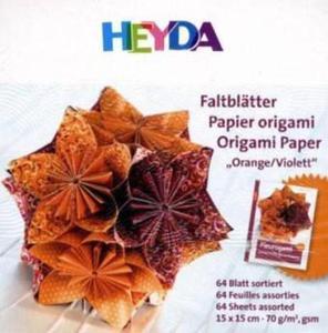 Papier do origami 15x15cm Heyda pomar/fiolet x64 - 2846498259