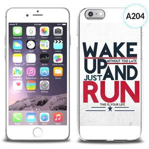 Etui silikonowe z nadrukiem iPhone 6 - wake up without too late just and run
