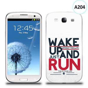 Etui silikonowe z nadrukiem Samsung Galaxy S3 - wake up without too late just and run - 2835854341