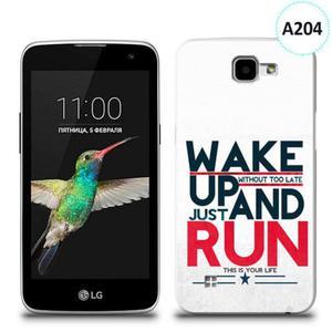 Etui silikonowe z nadrukiem LG K4 - wake up without too late just and run - 2836066630