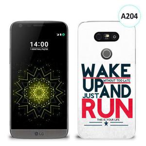 Etui silikonowe z nadrukiem LG G5 - wake up without too late just and run - 2836491036