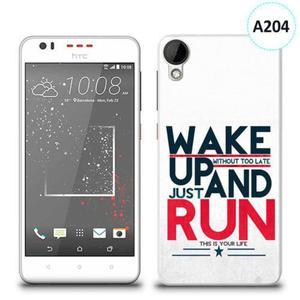 Etui silikonowe z nadrukiem HTC DESIRE 825 - wake up without too late just and run - 2836721349