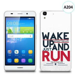 Etui silikonowe z nadrukiem Huawei Y6 - wake up without too late just and run - 2836910707