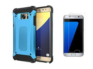 Etui Samsung Galaxy S7 Edge Hard Armor Niebieskie + Szkło - Niebieski