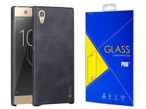 Eleganckie etui x-level vintage Sony Xperia XA1 czarne +szkło - Czarny - 2876671369