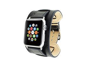 Pasek skórzany Cuffs Mankiet Apple Watch 38mm - Czarny - 2825180648