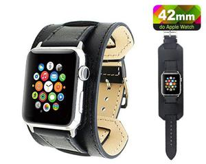 Pasek skórzany Cuffs Mankiet Apple Watch 42mm - Czarny - 2825180651