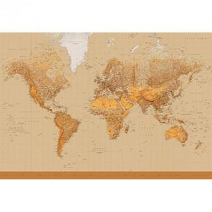 Fototapeta Mapa Świata 366x254cm brąz - 2833469746
