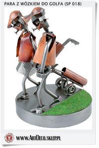 Para Chłopak i dziewczyna z wózkiem do GOLFA | Figurka statuetka | Upominek z pola golfowego - 2823554280