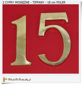 2 cyfry mosiężne czcionka TIFFANY Poler 18 cm - 2858952158