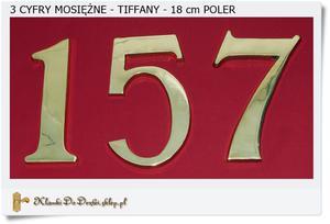 Duże mosiężne Cyfry 18 cm TIFFANY Poler 3 szt - 2858952159