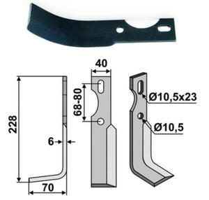 Nóż glebogryzarki uniwersalny lewy 228x70x40x6 - 2823178981