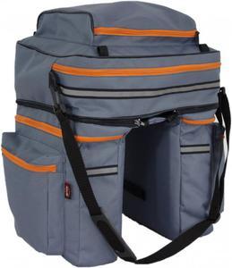df9d9cdcc1c48 Sakwa rowerowa na bagażnik duża 3 komorowa szara 45 litrów - 2881616632