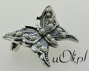 Broszka motylek motyl perły perełki srebro - 2823480446